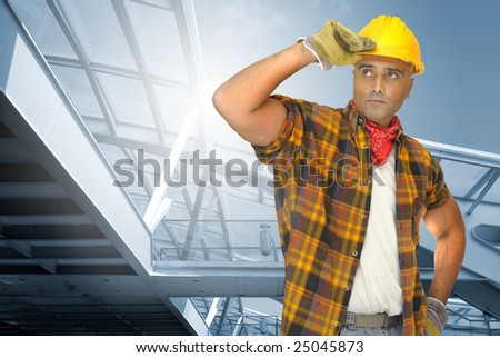 worker with Train station as background