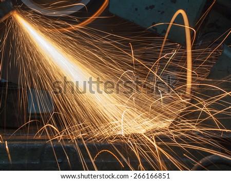 worker with welding metal industrial - stock photo