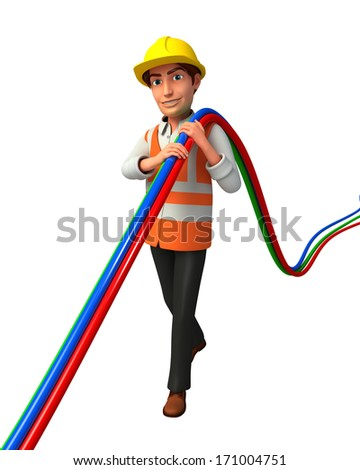 Worker with wire - stock photo