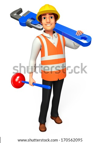 Worker with wrench and toilet plunger
