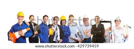 Workers and business people together as a team - stock photo