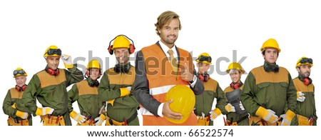 Workers big team isolated in white - stock photo