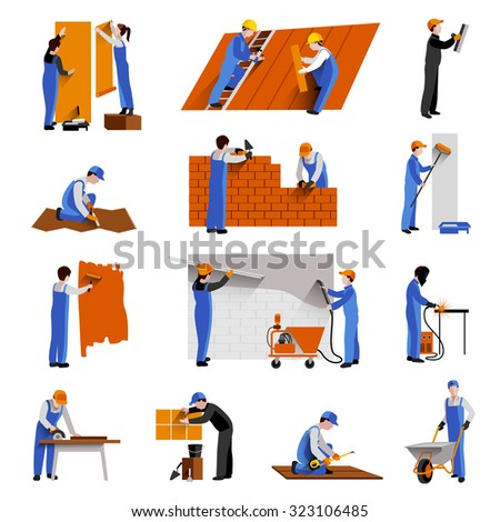 Workers builder engineers and technician icons set isolated  illustration - stock photo