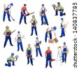 Workers from the construction industry - with various tools, isolated - stock photo