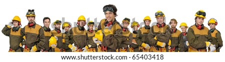Workers huge team isolated in white - stock photo