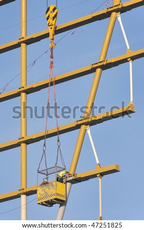 Workers in a Hoist Basket - stock photo