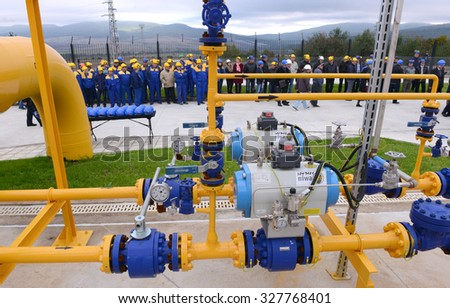 Workers in Gas storage and pipeline in Ihtiman, Bulgaria ot Oct. 13, 2015