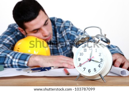 Workers napping - stock photo