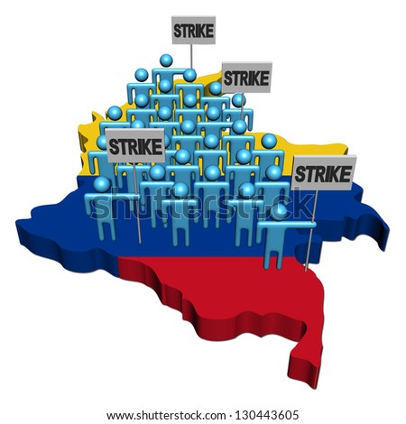 workers on strike on Colombia map flag illustration - stock photo