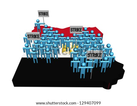 workers on strike on Egypt map flag illustration - stock photo