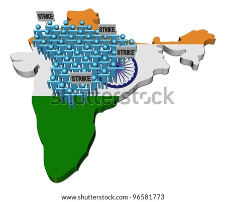 workers on strike on India map flag illustration - stock photo