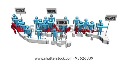 workers on strike on Indonesia map flag illustration - stock photo