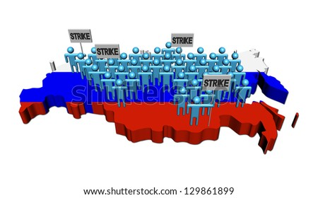 workers on strike on Russian Federation map flag illustration - stock photo