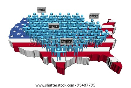 workers on strike on USA map flag illustration - stock photo