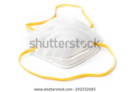 Workers paper protective mask isolated on white background - stock photo