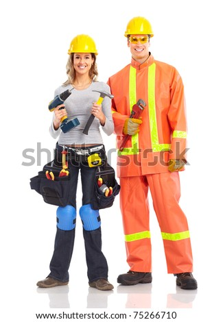 Workers people. Isolated over white background