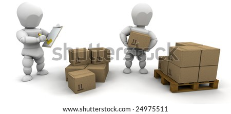 Workers stacking boxes onto a pallet