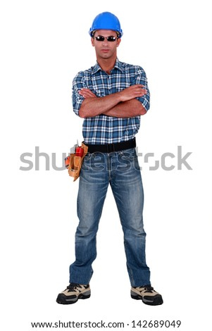 Workers stand by with sunglasses - stock photo