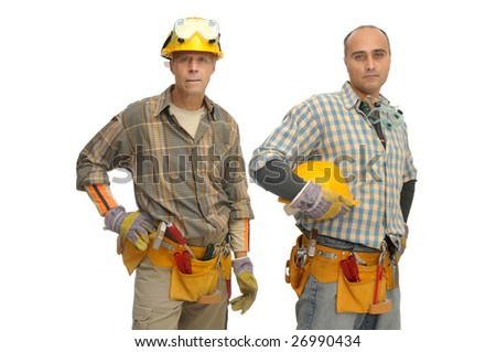 workers team  isolated against a white background - stock photo
