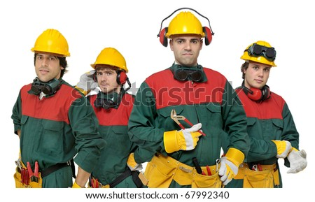 Workers team isolated in white - stock photo