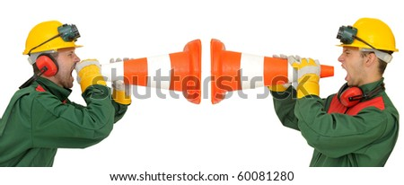 Workers team shouting isolated in white - stock photo