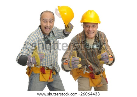 workers team with hat isolated against a white background - stock photo