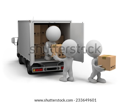 Workers unload the car with boxes. 3d image. White background. - stock photo