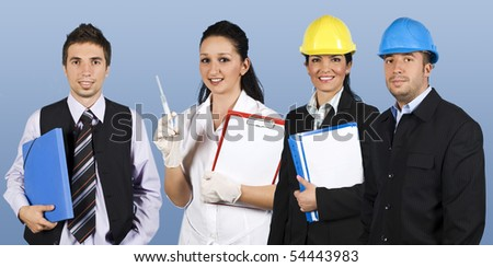 Workers with different careers smiling and standing in a line  doctor female holding clipboard,business man with a blue folders,architect woman with plans and engineer man - stock photo