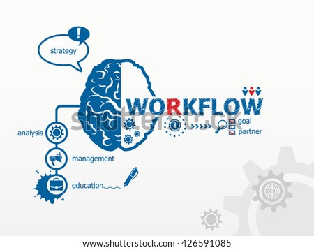 Workflow design illustration concepts and brain for business, consulting. Hand writing Workflow raster version - stock photo