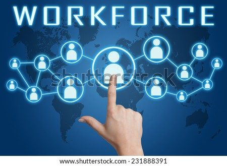 Workforce concept with hand pressing social icons on blue world map background. - stock photo