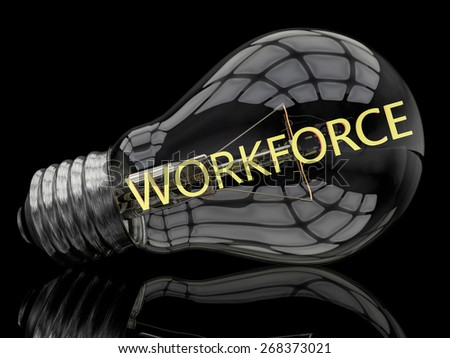 Workforce - lightbulb on black background with text in it. 3d render illustration. - stock photo