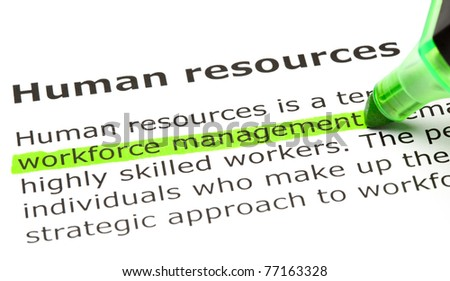 Workforce management highlighted in green, under the heading Human resources. - stock photo