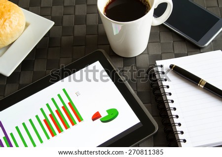 Working, analyzing graphics with the tablet and having breakfast