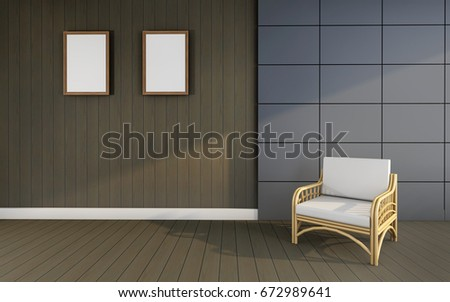 Working and living Room Luxury vintage and Working and picture frame / 3D rendering