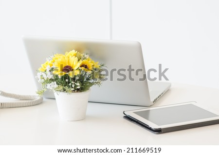 Working at home - open notebook, copy space on display - stock photo
