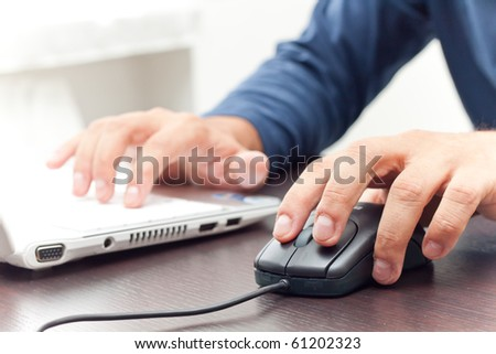 Working at the notebook - stock photo