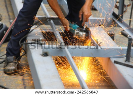 Working atmosphere in the construction, installation and safety of crane Industry. - stock photo