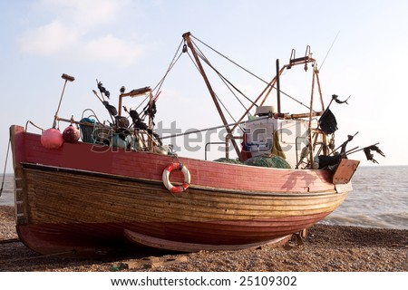 Working clinker-built fishing boat on Hastings Beach