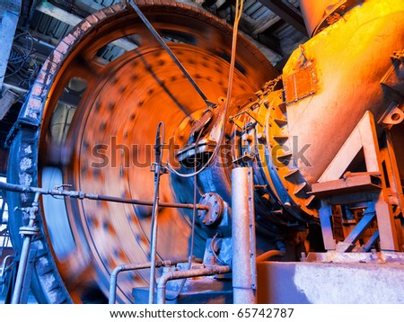Working coal mixer at the metallurgical plant - stock photo