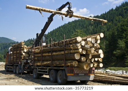 working crane in a forest building a stack of logs - stock photo