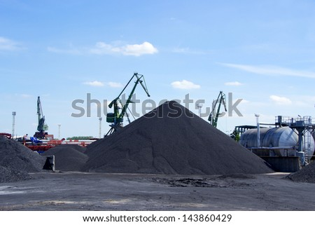 Working crane in the port - stock photo