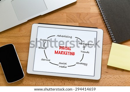 Working desk with digital tablet showing digital marketing concept - stock photo