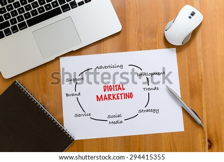 Working desk with laptop computer and paper draft showing digital marketing concept - stock photo