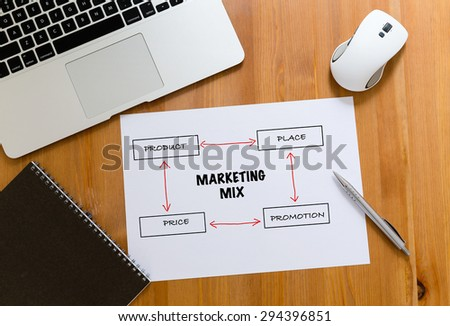Working desk with laptop computer and paper draft showing marketing mix concept - stock photo