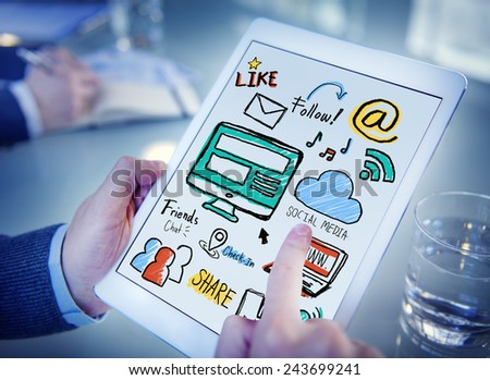 Working Digital Tablet Global Comunications Social Media Concept - stock photo