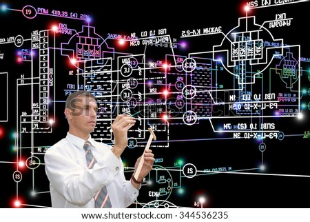 Working Engineer and electrical industrial engineering scheme - stock photo