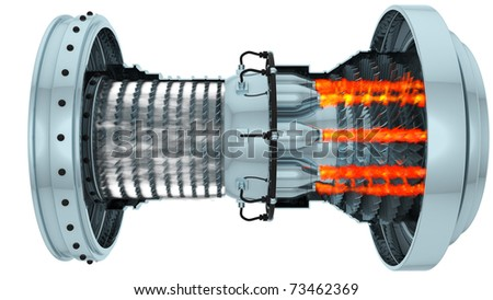 working gas turbine,3d render isolated on white - stock photo