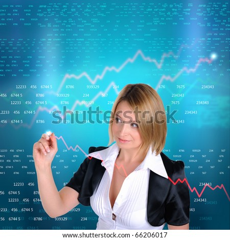 Working Girl drawing color graphics devoted to business. Abstraction. - stock photo