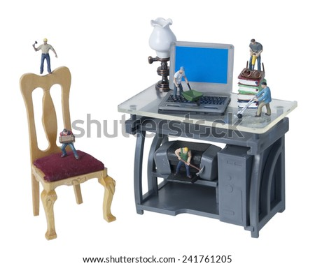 Working Hard in the Office with Tools and Technology - path included - stock photo