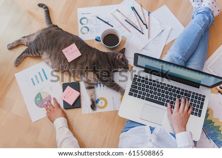 Working home concept - girl with smart phone, laptop and business reports.